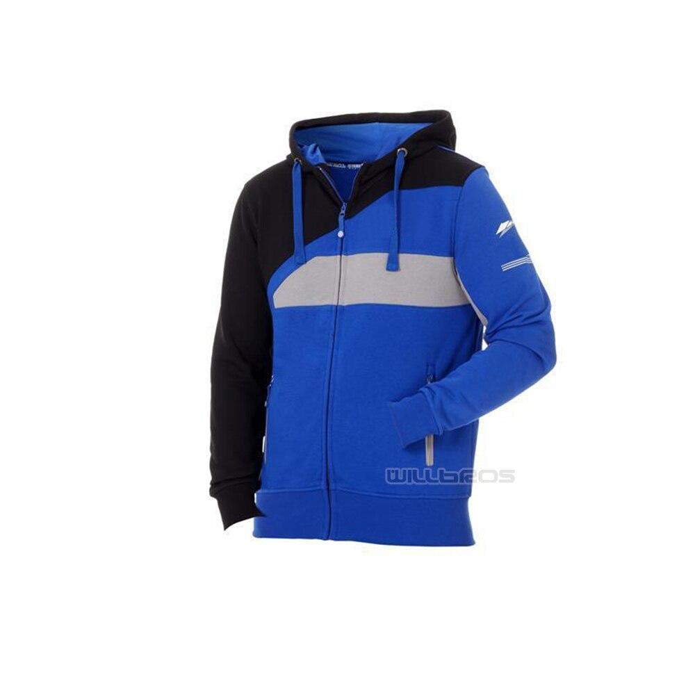 هودي قطني عالي الجودة للرجال ، سترة زرقاء وسوداء للدراجات النارية والدراجات الجبلية