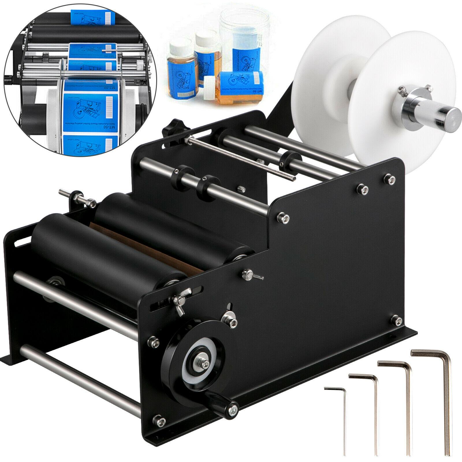 ماكينة وضع وسم الزجاجات شبه الأوتوماتيكية VEVOR MT - 30 ماكينة طبع لاصقة كهربائية مزودة بقضيب مستدير للزجاج المعدني البلاستيكي