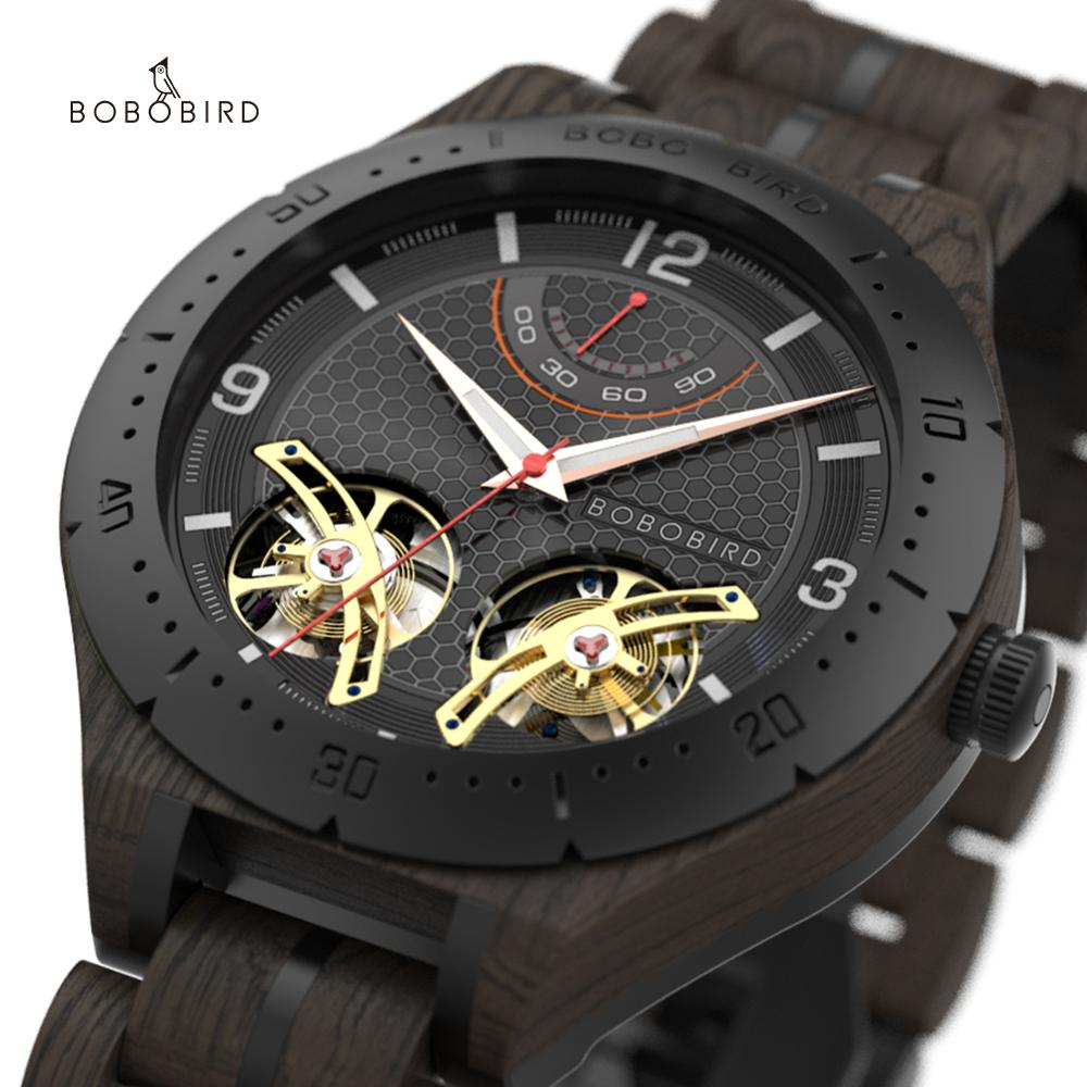 Relojes automático elojes para hombre BOBO BIRD, relojes de madera para hombre, relojes de pulsera de lujo de marca superior, relojes para hombre, envío directo automático