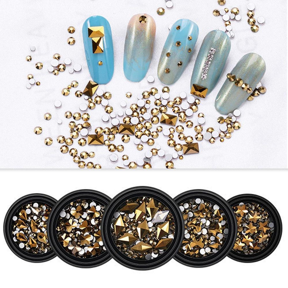 Hot sale Mine gold Nails Rhinestones 31 styles Fancy Crystal stones Nail Glitter For 3D Nail art dec
