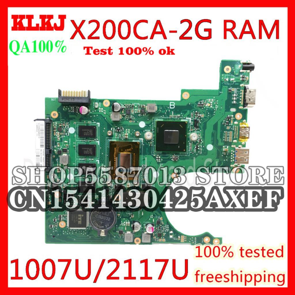 KLKJ X200CA ل ASUS X200CA X200CAP المحمول اللوحة 1007U/2117U CPU 2 جيجابايت الذاكرة اللوحة REV2.1 100% اختبار العمل