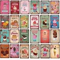 Panneaux metalliques pour cupcakes macarons  cafe  assiettes a Dessert  affiche murale  Art  decoration de cuisine a domicile  peinture en fer Vintage