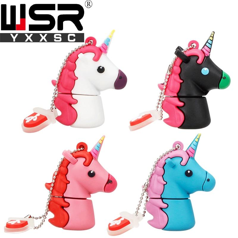 Unidad flash usb Wsryxxsc de dibujos animados unicornio, unidad flash resistente al agua 64gb 32gb 16gb 8gb 4gb, flash usb de alta velocidad, capacidad real