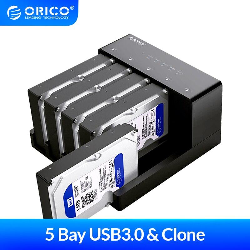 ORICO 2.5 3.5'' 5 bay USB3.0 to SATA HDD Docking Station USB3.0 Hard Drive Enclosure Support 10TB 5 Bay Offline Clone HDD Case