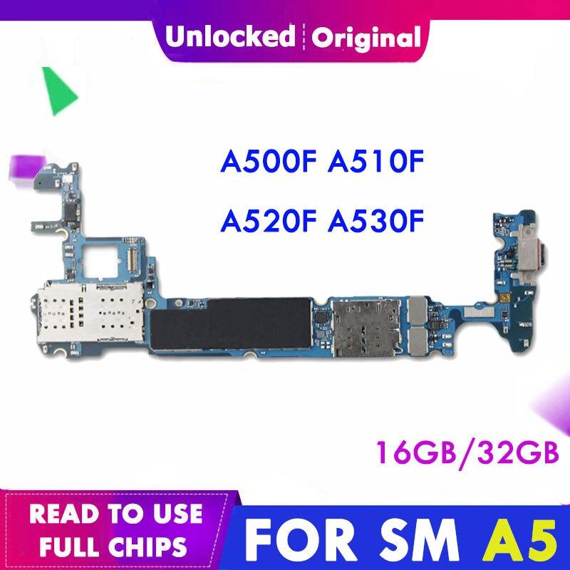 Placa base Original desbloqueada para Samsung Galaxy A5 A520F A5000 A500F A500FU A510F A530F placa base con chips completos