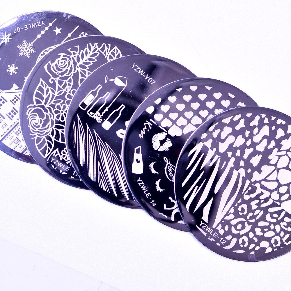 Yzwle modelo de carimbo para unhas, 1 peça, modelo de flor, geométrica, animais diy, desenhos de unhas, estêncil de imagem de manicure
