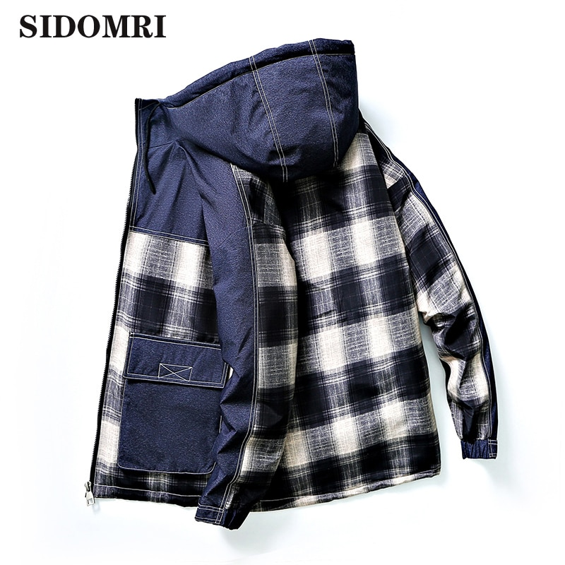 Autumn and winter down jacket for men  thick and warm 90% white duck down casual  versatile plaid  pattern style  coat for men
