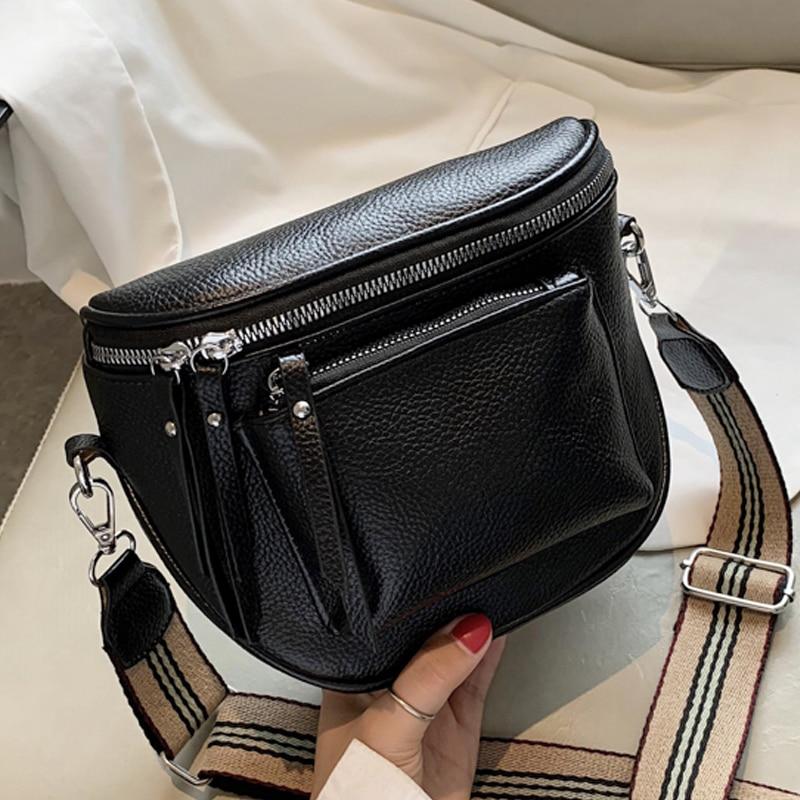 2021 مصمم حقيبة كروسبودي بولي Leather الجلود الناعمة حقيبة ساع للسيدات سستة واسعة حزام الكتف حقيبة صغيرة الرجعية امرأة حقائب الإناث