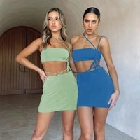 bodycon lace up cropped top skirt two pieces sets sleeveless halter one shoulder asymmetric and mini skirts summer sexy sets2021