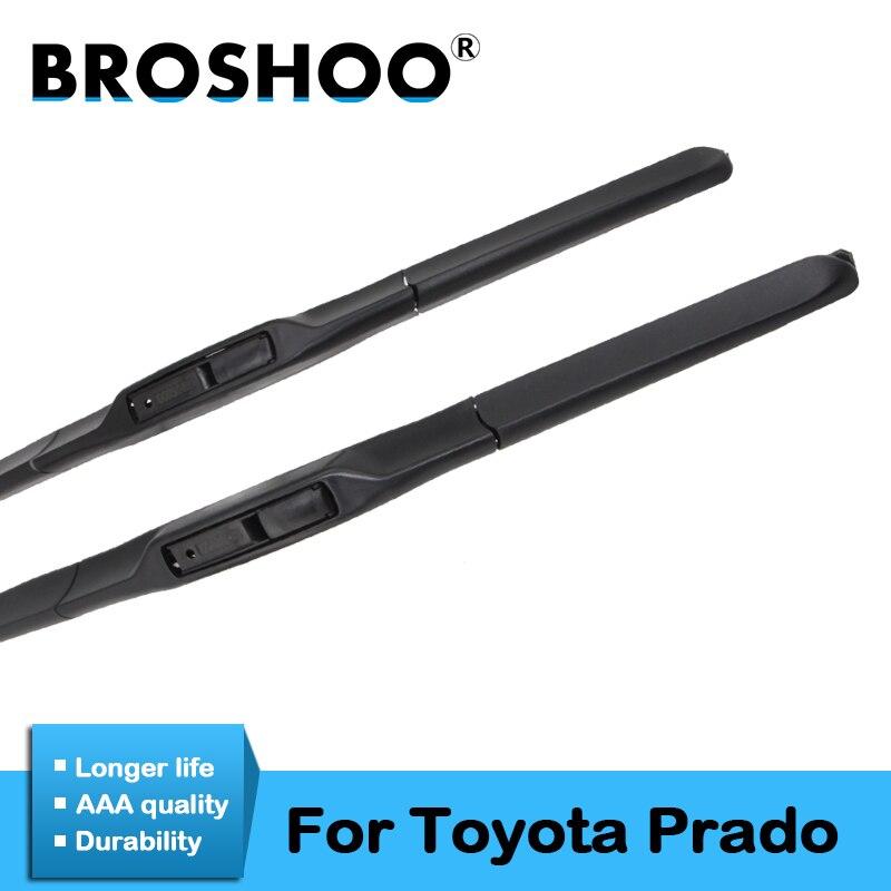 BROSHOO coche limpiaparabrisas de goma suave para Toyota Prado 2003. 2004, 2005, 2006, 2007, 2008, 2009, 2010, 2011, 2012, 2013, 2014, 2015, 2016