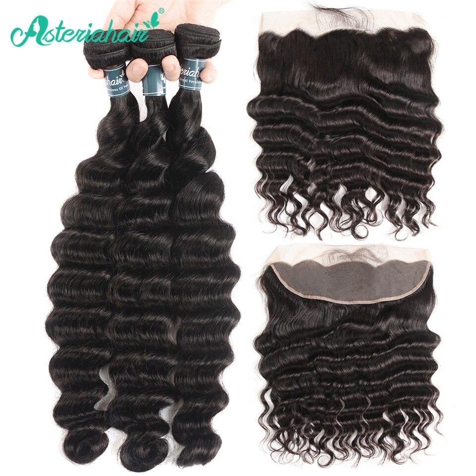 Asteria brasileira onda profunda pacotes com fechamento frontal do laço 13*4 pré arrancado 3 bundles tecer cabelo humano feixes de cabelo remy