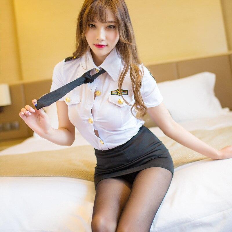 Sexy police woman uniform stewardess erotic lingerie sexy skirt for sex cosplay seduction suit sex bdsm bondage sex uniform hot