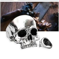 new exaggerated skull ring mens ring fashion metal scary skull head shape punk ring accessories party jewelry size 7 13