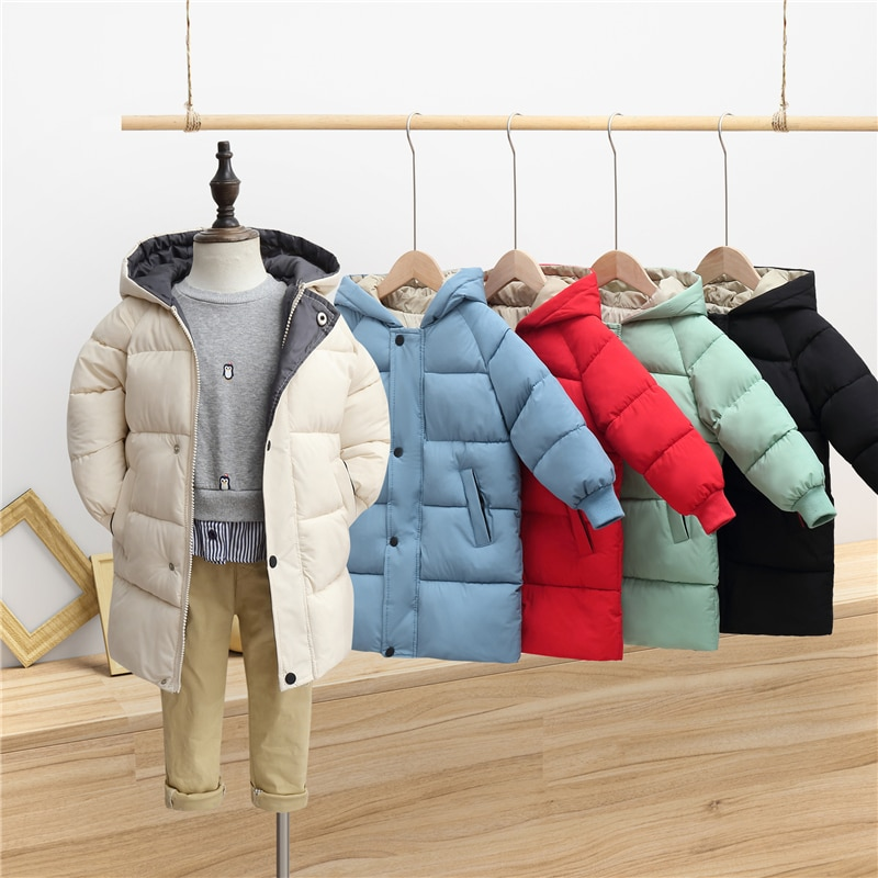 New Children's Down Padded Jacket Boys and Girls Mid-length Thick Padded Jacket Winter Hooded Jacket Kids Winter Clothes