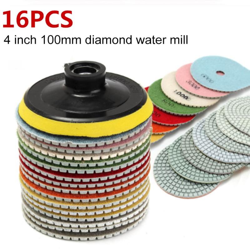 Kit de almofadas de polimento de diamante, 4 polegadas, 100mm, molhado/seco, para pedra de granito, uso de polimento de mármore conjunto de discos de moagem