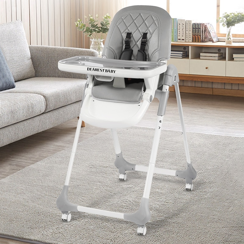 Dearest Multifunctional Baby Feeding Chair with Detachable Casters Easy to Fold Child Seat Highchairs