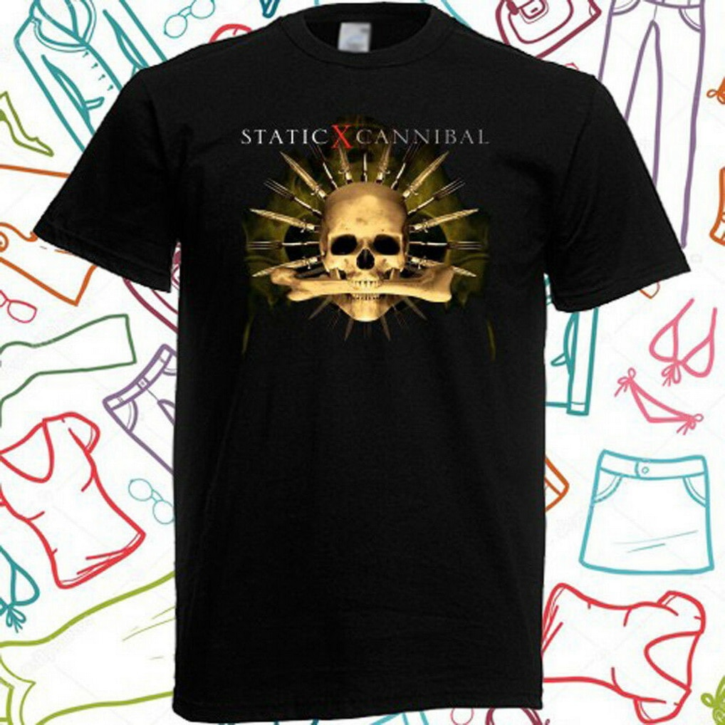 Static-X caníbal Metal Rock Band camiseta negra para hombre talla S a 3XL de talla grande ropa camiseta