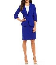 Saia feminina feita azul real preto um botão 34 mangas saia feminina ternos formais ternos da senhora do escritório ternos 2 peça jacketskirt