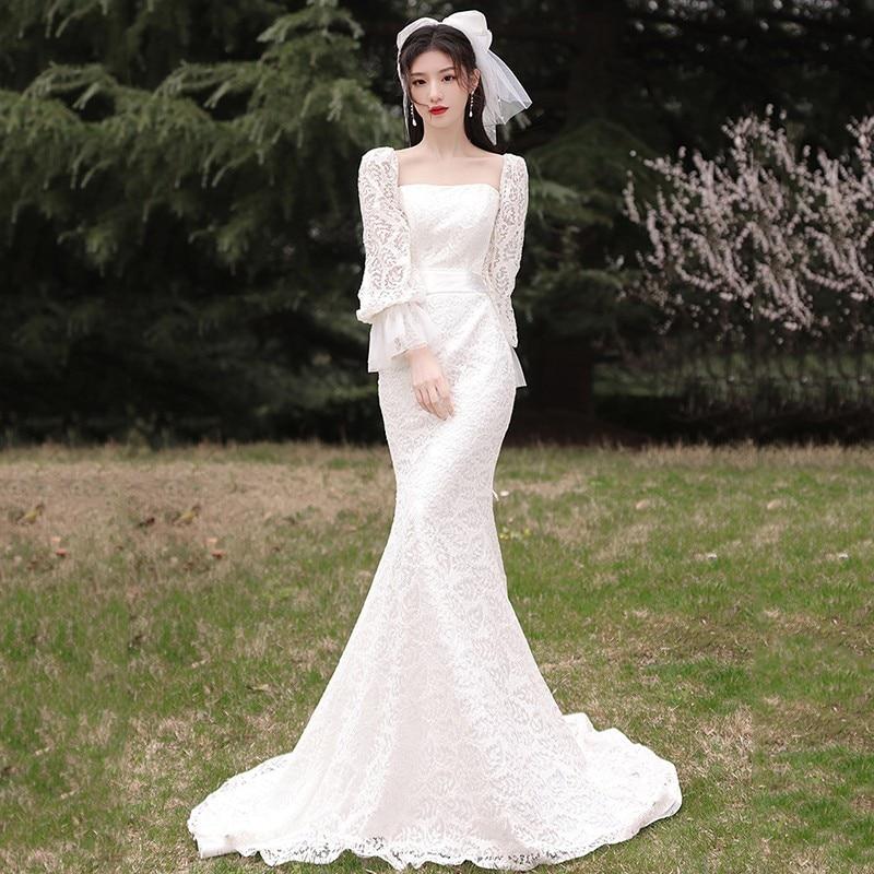 Promo Long Sleeve Mermaid Wedding Dresses Light Wedding Dress Classic Trumpet Dress Luxury Lace Beach Wedding Dress Customize