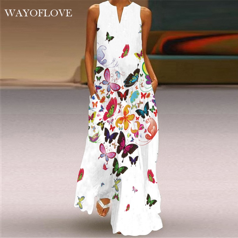WAYOFLOVE Butterfly Printed White Dress 2021 Casual Plus Size Long Dresses Summer Woman Sleeveless G