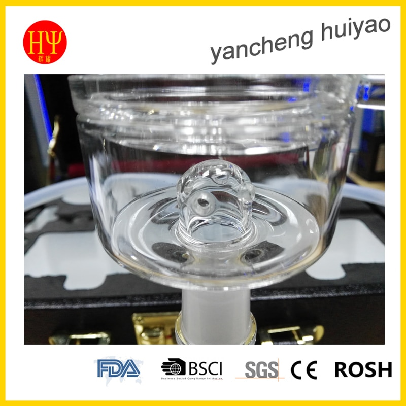 China narguile factory wholesale clear borosilicate glass tank horizontal glass hookah with leather bag enlarge