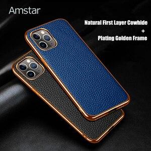 Image 2 - Чехол Amstar из натуральной воловьей кожи для телефона iPhone 12, 11 Pro Max, 12 Mini, X, XR, XS Max, полностью закрытый чехол с золотистой рамкой