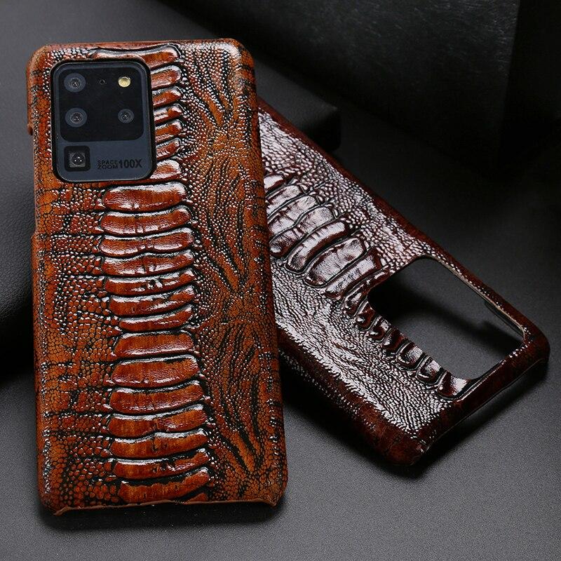 Caja de teléfono de cuero para Samsung S20 Ultra S7 S8 S9 S10 Lite S10e Nota 8 9 10 Plus A20 A30 A50 A70 A51 A71 avestruz pie textura