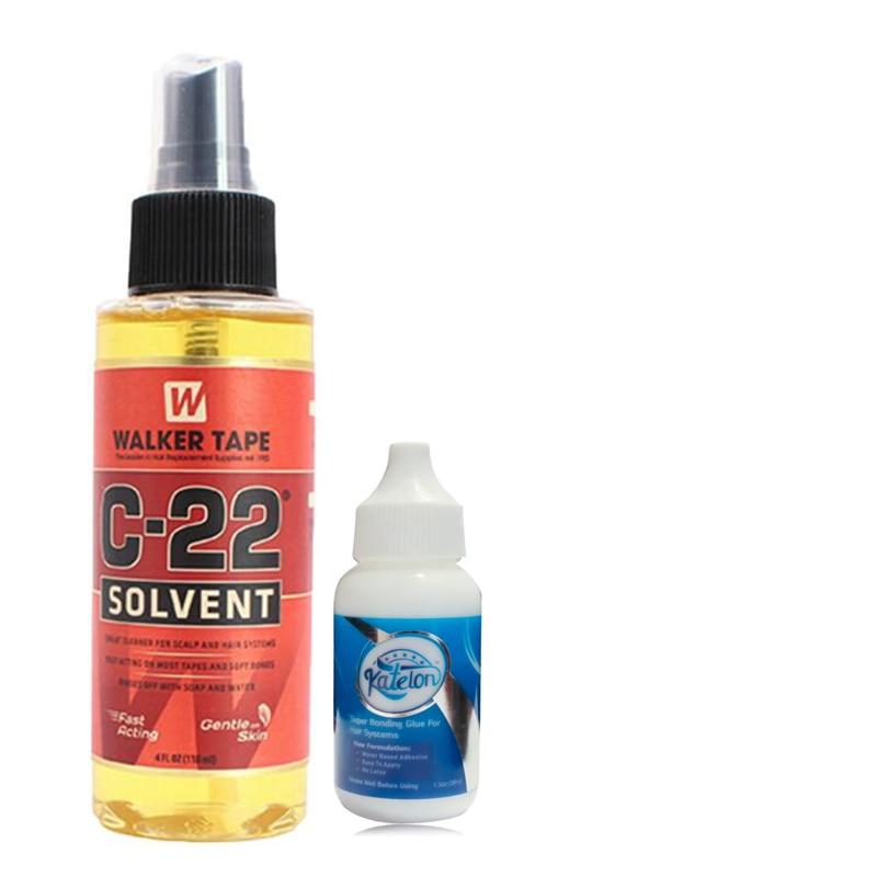 4FL.OZ(118ml) Walker Tape C-22 Solvent Remover+38 ml1.3 Oz Katelon Super Adhesive Glue Wig Bonding Glue for lace wig and toupee