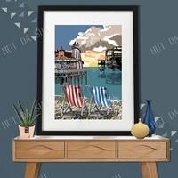 brighton pier poster retro uk vintage style travel poster uk holiday art work print brighton shingle beach