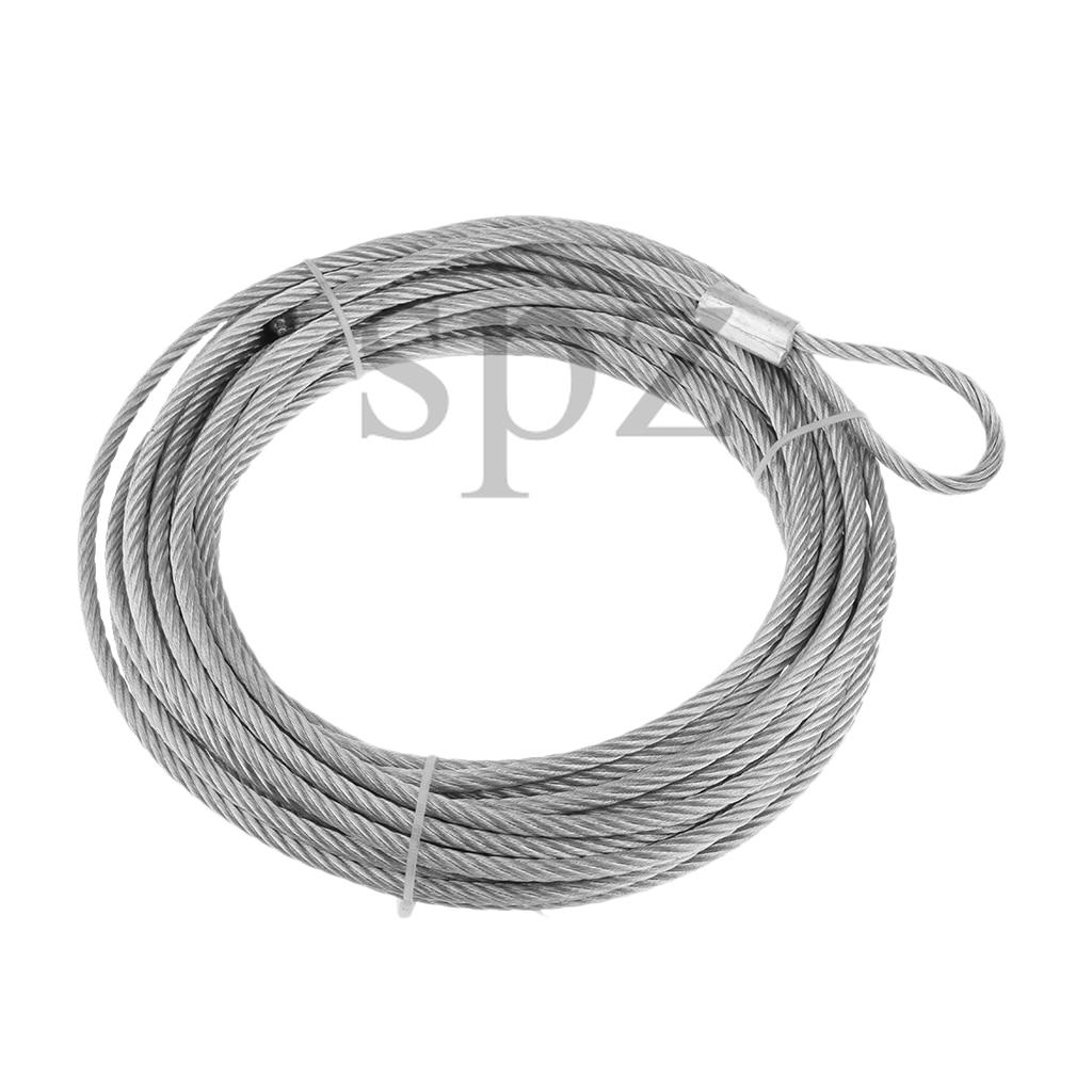 Substituição da corda do cabo do guincho do fio de aço para atv utv 12.2m x 5.8mm prata