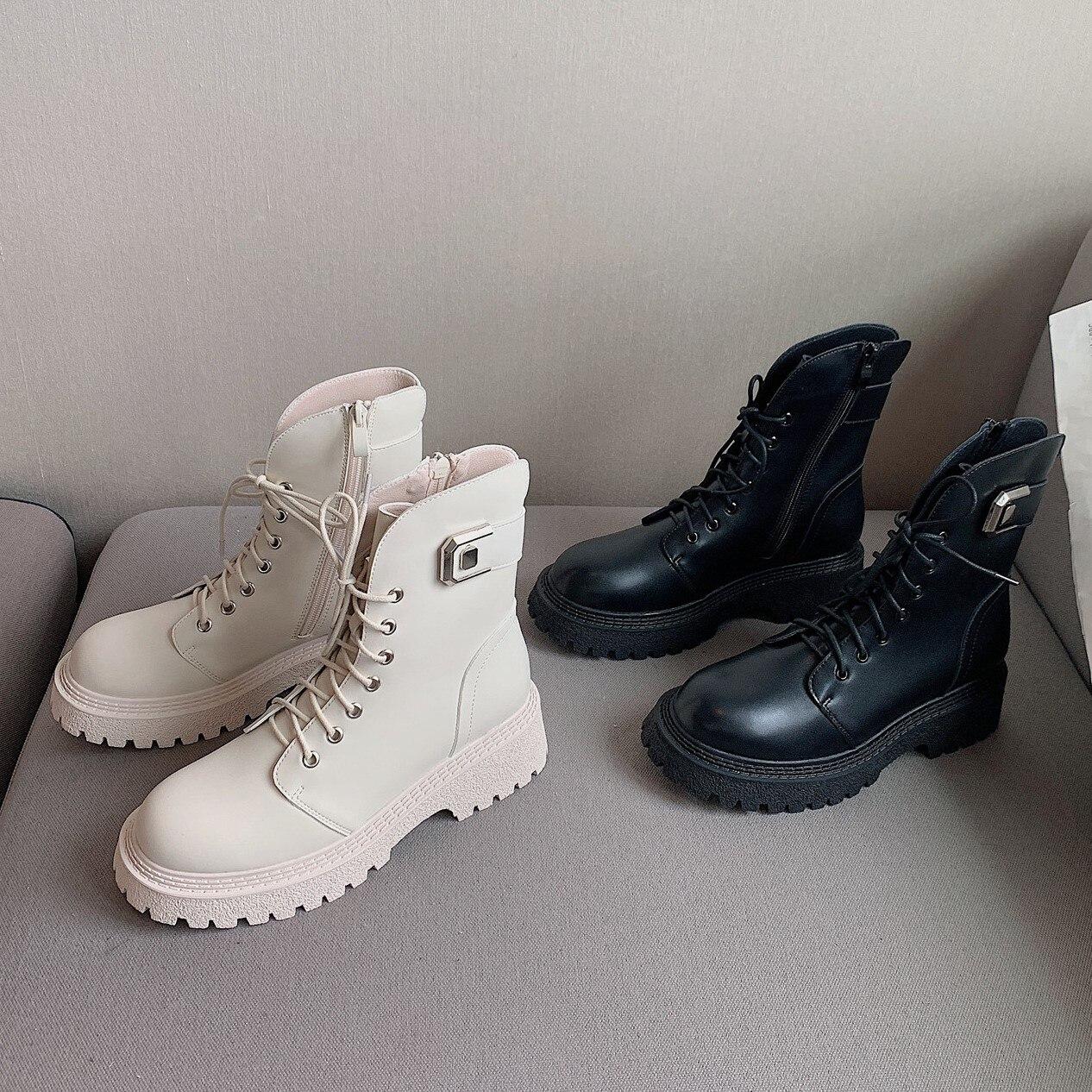Зимние женские ботинки 2021, модные водонепроницаемые ботинки на платформе с круглым носком, на шнуровке, на молнии, Нескользящие, на толстой ...