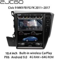 zjcgo car multimedia player stereo gps radio navigation android screen monitor for honda civic 9 mk9 fb fg fk 20112017