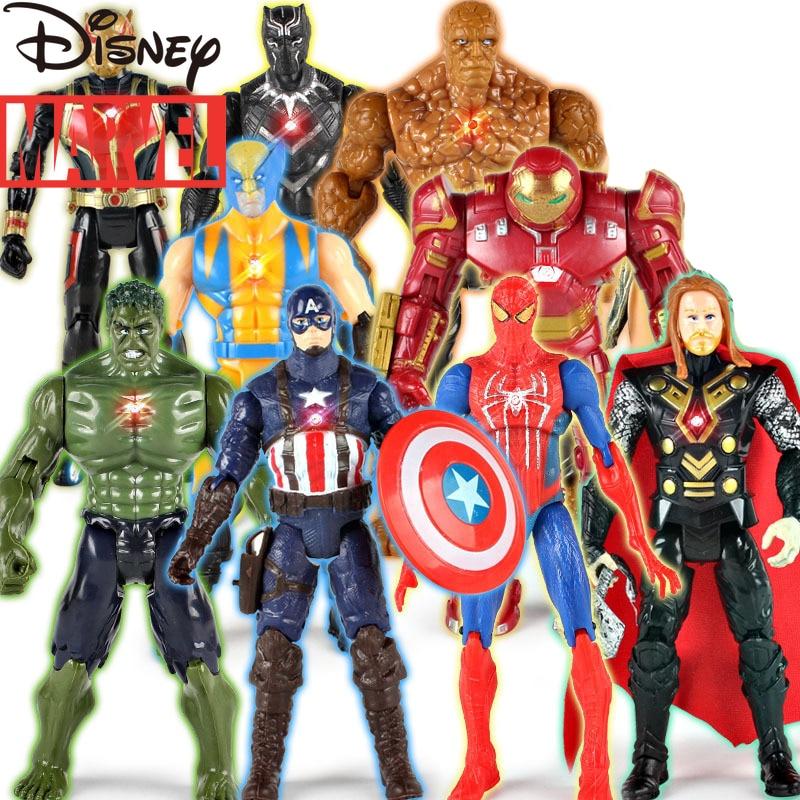 Disney Marvel Avengers Doll Toy Thor Captain America Wolverine Spiderman Iron Man Hulk PVC Model Toy Children's Toy Gift