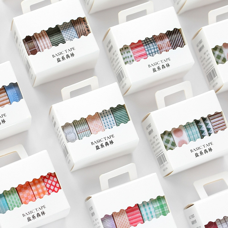 5 Teile/los Salz Wald Serie Journal Washi Band DIY Scrapbooking Aufkleber Label Grundlegende Grafiken Masking Tape Schule Büro Liefern