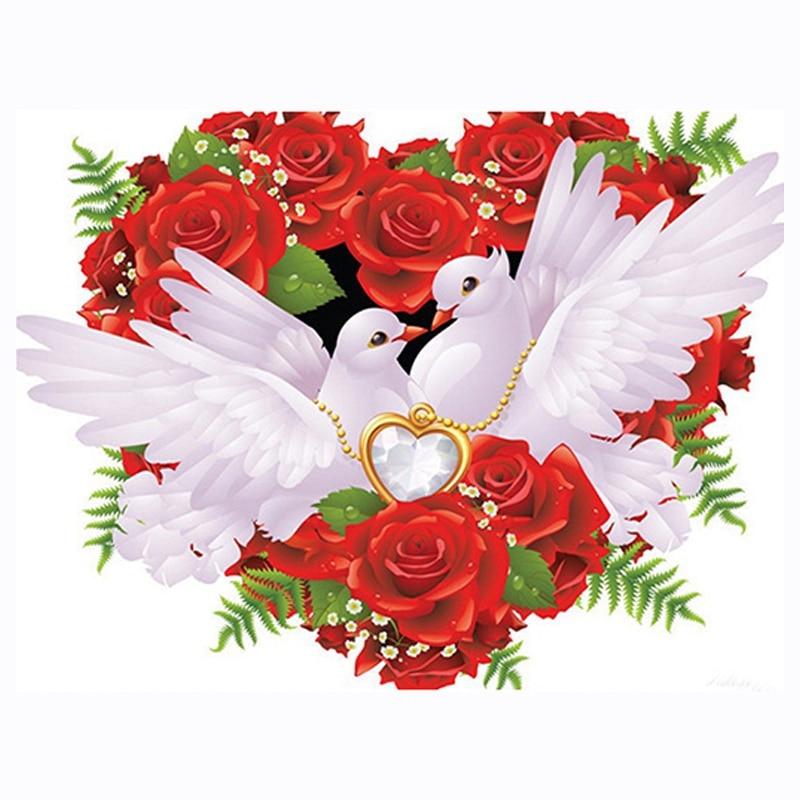 5D Diy bordado de diamantes blanco palomas cuadro completo cuadrado diamante punto de cruz cuadro de diamantes de imitación regalo de boda-ABUX