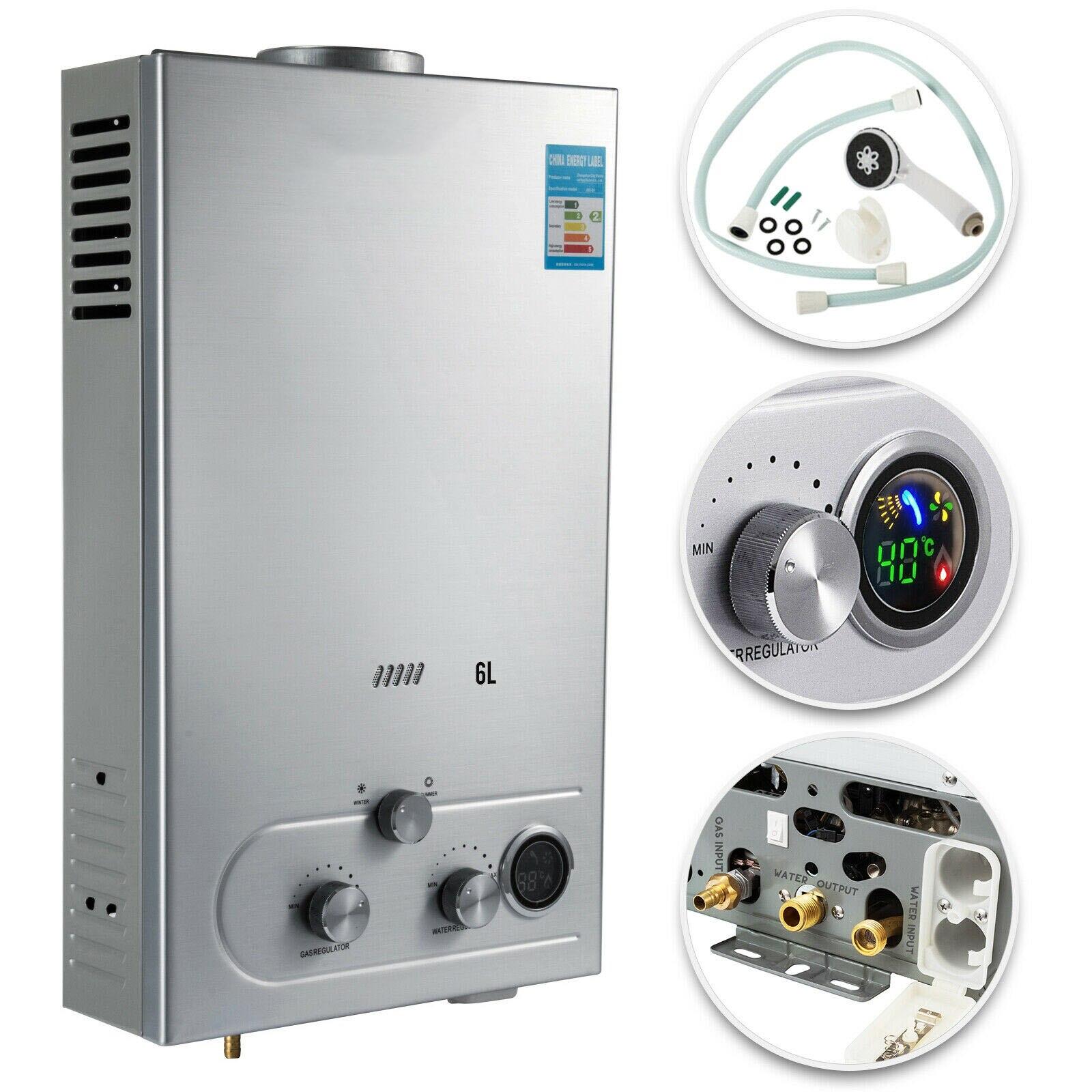 Calentador de agua de gas de 6L, calentador de agua de gas propano