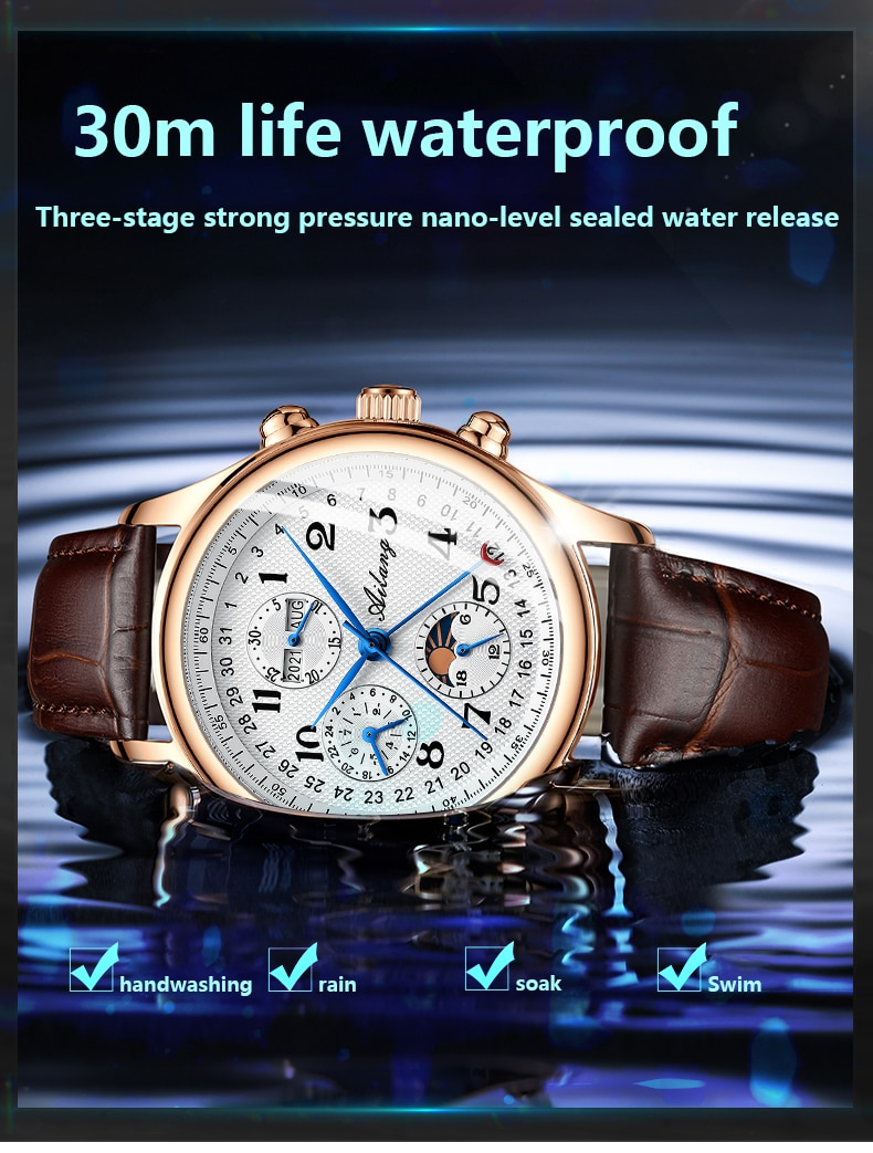 The new Ailang top luxury brand men's mechanical watch moon phase multi-function watch waterproof men's business style watch enlarge
