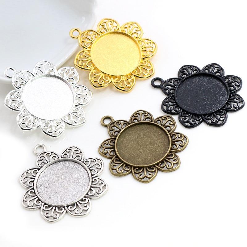 Nova moda 5 pçs 25mm tamanho interno antigo prata chapeado bronze 5 cores pétalas estilo base cabochão ajuste encantos pingente
