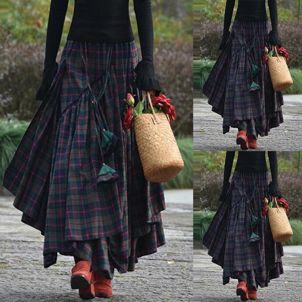 Modernas faldas holgadas de cuadros con flecos estampados irregulares para mujer, faldas largas asimétricas para mujer