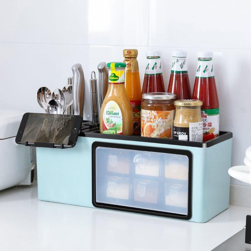 Estante de casa, estante para condimentos, suministros de condimentos, electrodomésticos, pequeño departamento, tienda, estante para cuchillos, aceite, sal, salsa, vinagre, botella, cuchillo