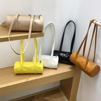 pu leather soft shoulder bag women solid barrel cylinder bag womens underarm bags fashion luxury retro daily dating handbags