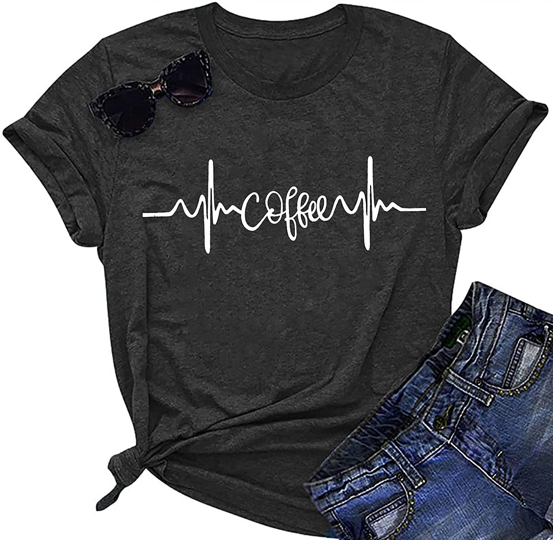 Летняя футболка унисекс, футболки с графическим рисунком, кофейная футболка, женские топы с графическим рисунком и надписью, футболки, повс...