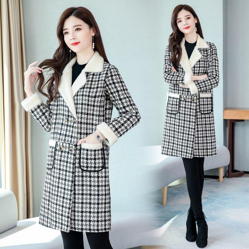 New Arrival 2020 Autumn Winter Women Thicken Warm Coat Korean Fashion Vintage Plaids Elegant Slim Long