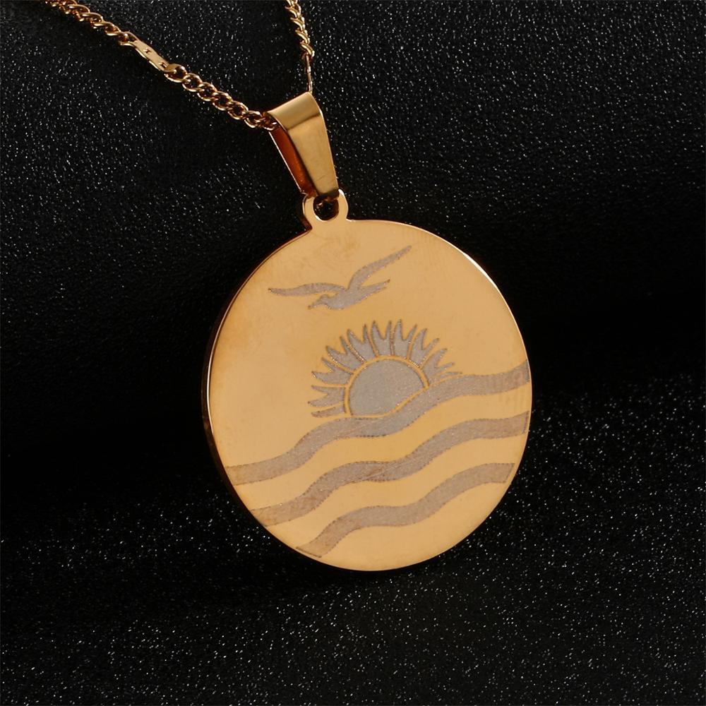 Acero inoxidable moda Kiribati Boboto colgante con diseño de bandera collar cadena redonda joyería