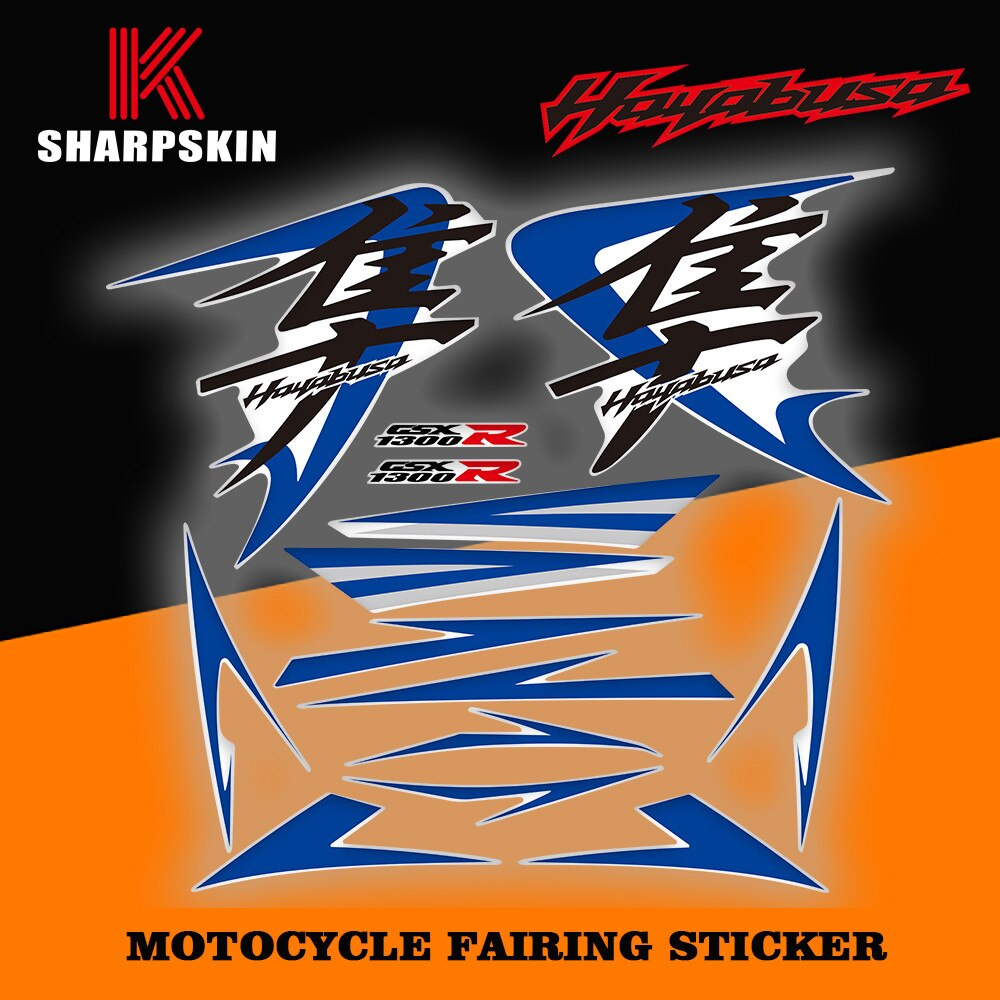 Pegatina de carenado reflectante decorativa para motocicleta, película de aspecto modificado para Suzuki Hayabusa GSXR1300R GSXR 1300R 2008
