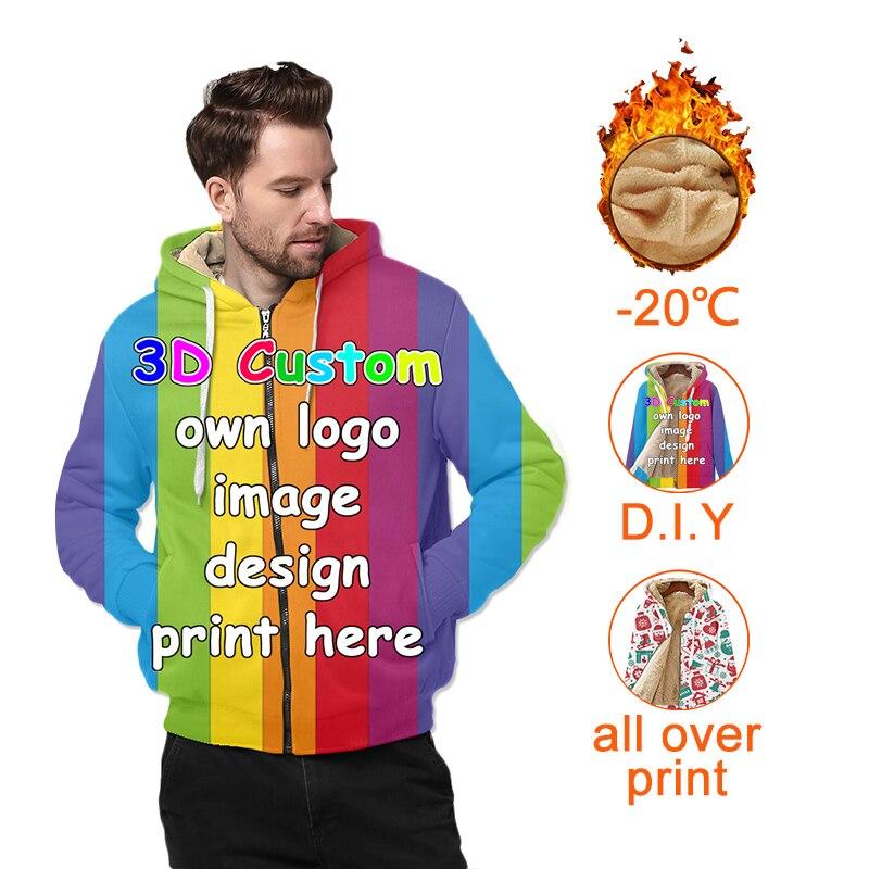ثلاثية الأبعاد طباعة مخصصة الرجال الشتاء طويلة عادية سميكة الصوف هوديس سترة معطف الرجال أبلى DIY بها بنفسك Deesign دروبشيبينغ بالجملة