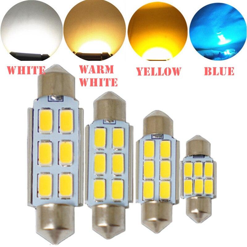 Festoon CANBUS 31mm 36mm 39mm 41mm C5W ERROR FREE 5630 5730 2/4/6 LED SMD Interior Warm White Yellow Car Interior LED bulbs
