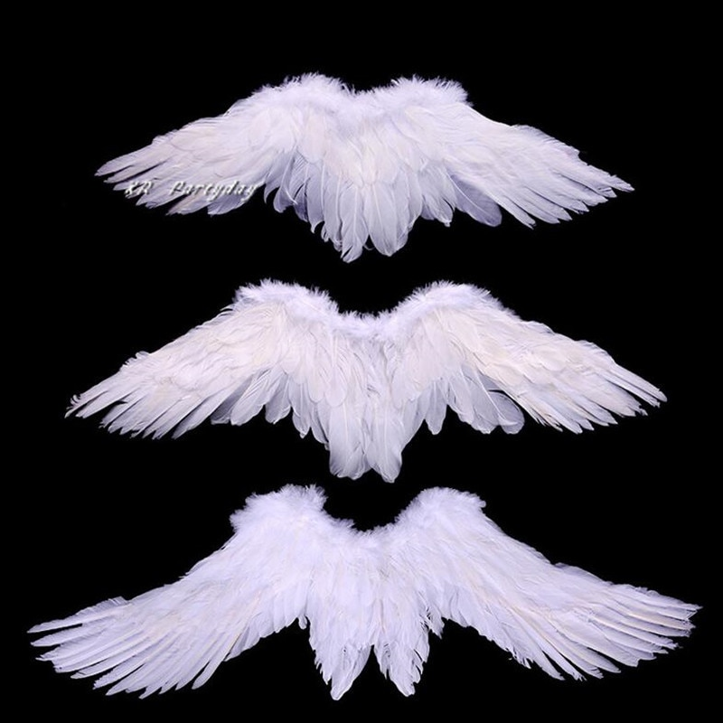 Детский костюм для костюмированной вечеринки с изображением крыльев Ангела, черного и белого перьев, реквизит на свадьбу, день рождения, Хэ...