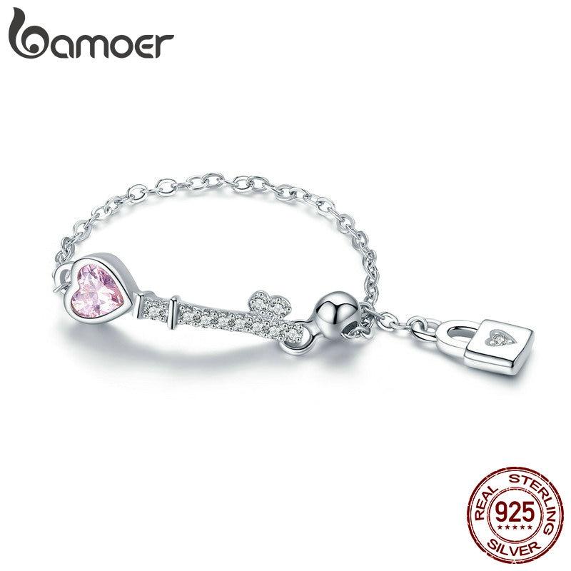 BAMOER Trendy New 925 Sterling Silver Love Heart Lock Key Chain Rings for Women Wedding Engagement Jewelry Anel SCR425