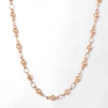 Élégant collier de chaîne de perles pour femmes filles 4mm 585 or Rose mode bijoux de mariage cadeaux 50cm 60cm CN32